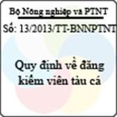 Thông tư 13/2013/TT-BNNPTNT