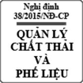 Nghị định 38/2015/NĐ-CP về quản lý chất thải và phế liệu