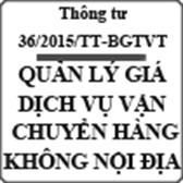 Thông tư về quản lý giá dịch vụ vận chuyển hàng không nội địa số 36/2015/TT-BGTVT