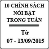 10 chính sách nổi bật được ban hành từ 07 – 13/9/2015