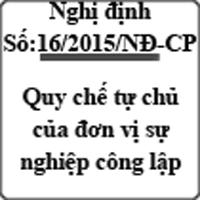 Nghị định 16/2015/NĐ-CP quy định cơ chế tự chủ của đơn vị sự nghiệp công lập