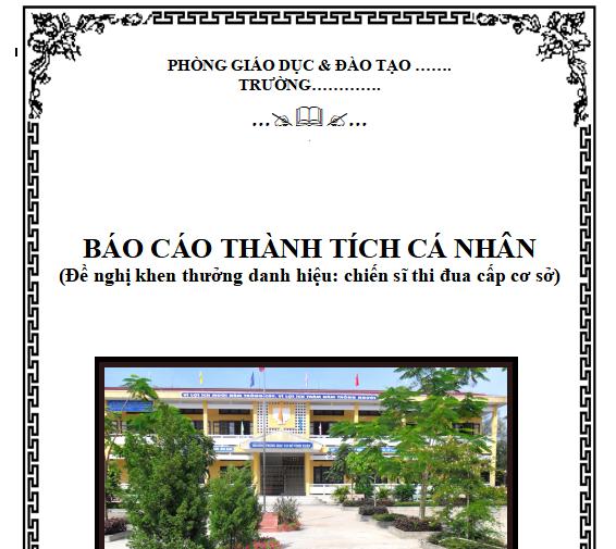 Mẫu bìa báo cáo thành tích cá nhân của giáo viên tiểu học