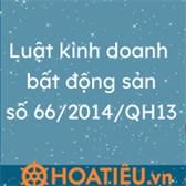 Luật kinh doanh bất động sản số 66/2014/QH13