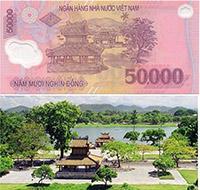 Địa danh nào được in trên tờ tiền cotton 50.000 VNĐ?